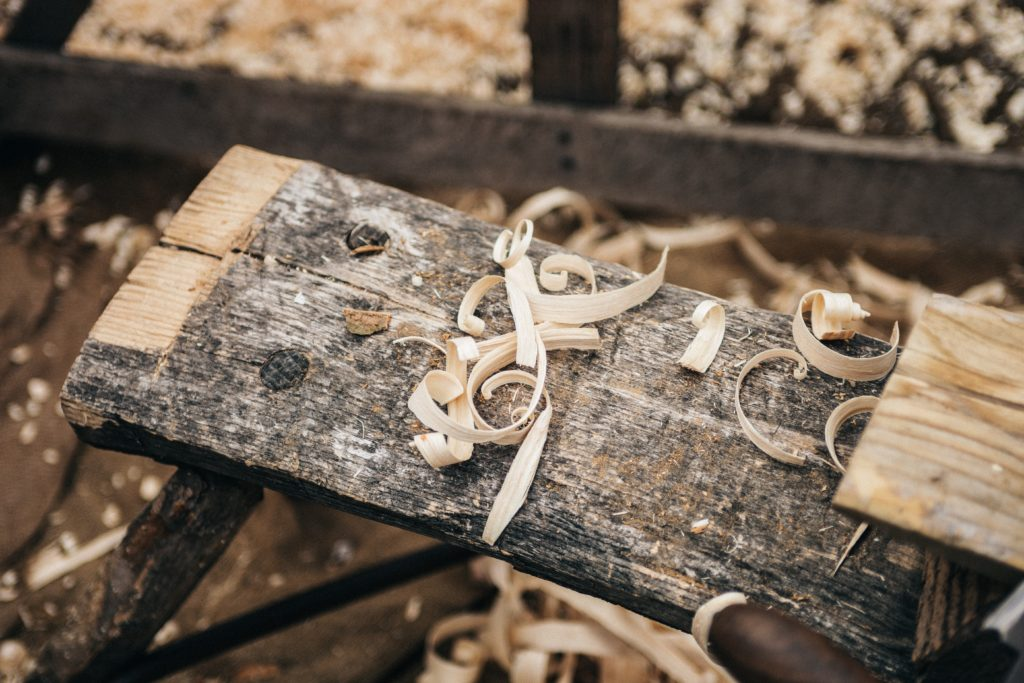 This picture shows recycled wood which is a cheap way to start woodworking
