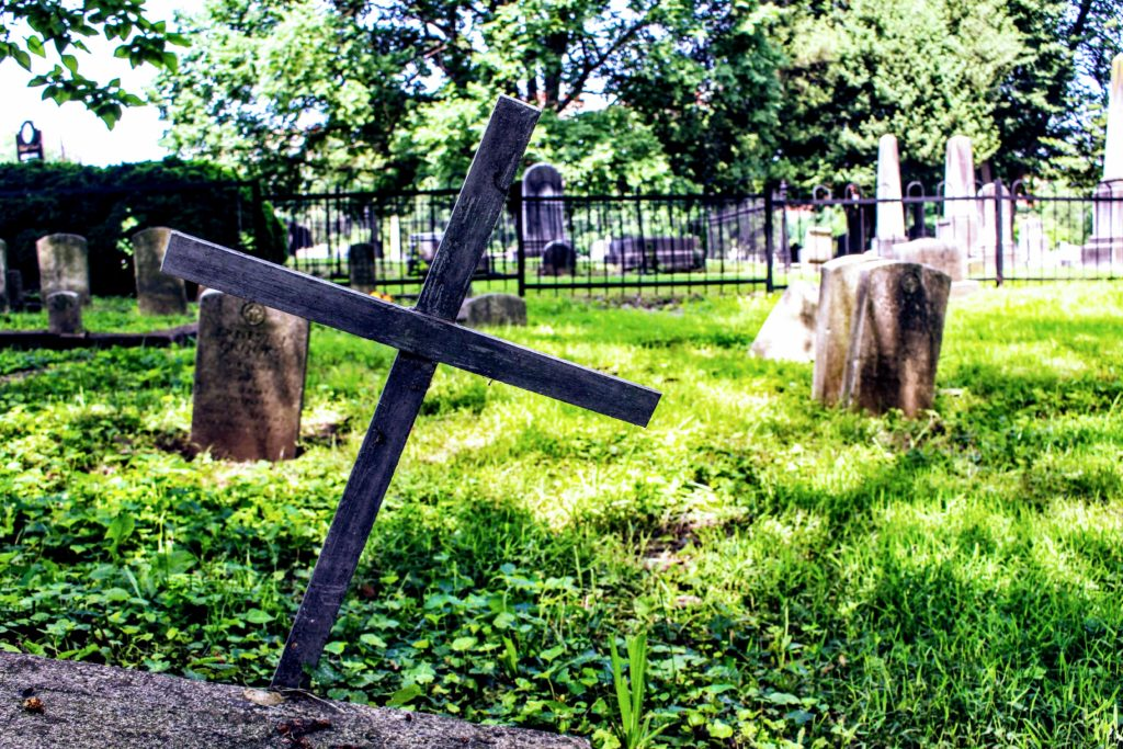 This picture shows a graveyard