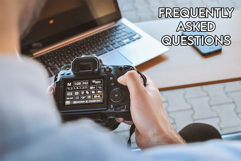"""This image shows an evocative image of a camera with the headline """"Frequently asked questions"""""""