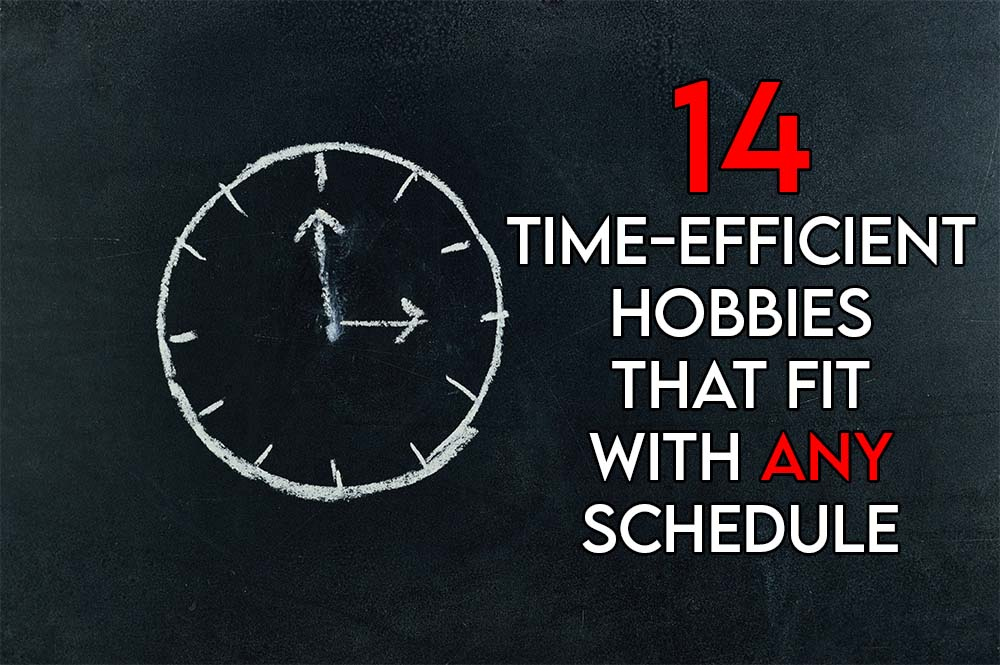 This image features the relevant title regarding time-efficient hobbies and an evocative image of a clock