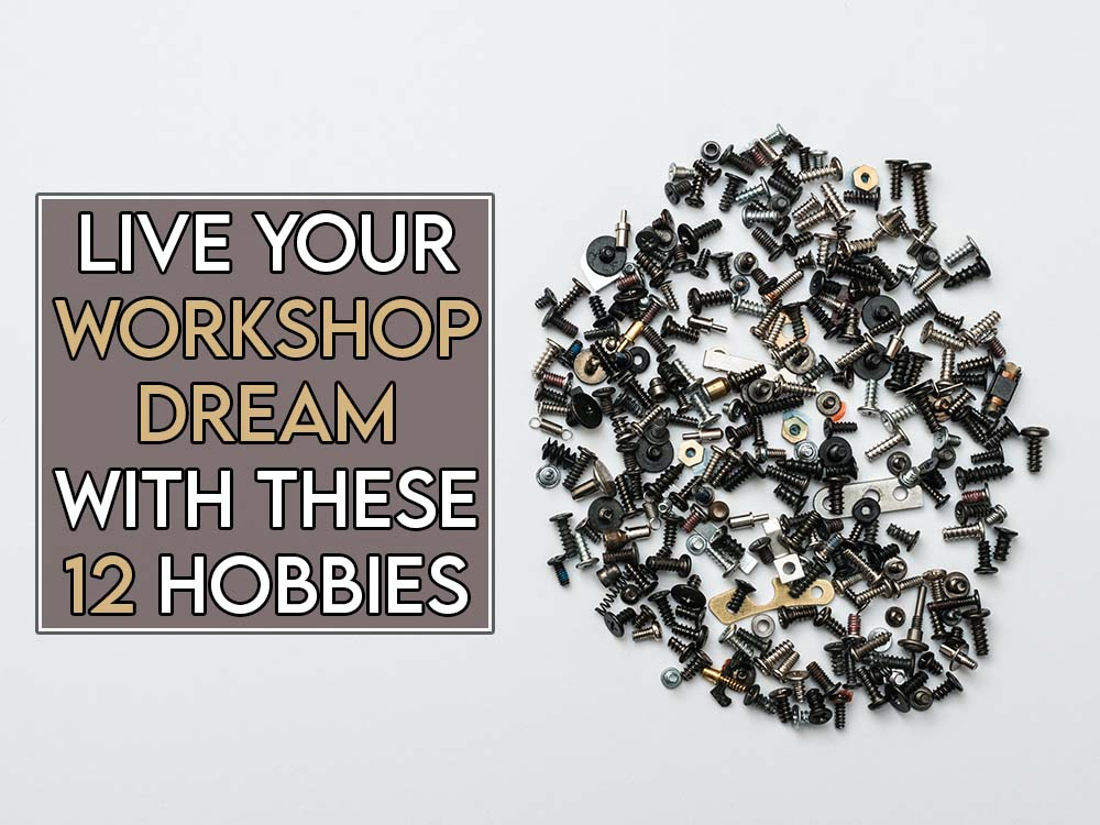 This image features the relevant title regarding tinkering hobbies and an evocative image of screws and bolts