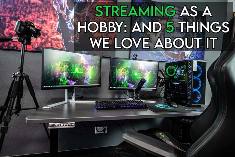 This image features the relevant article title discussing whether streaming is a hobby and includes an evocative image of a streaming setup