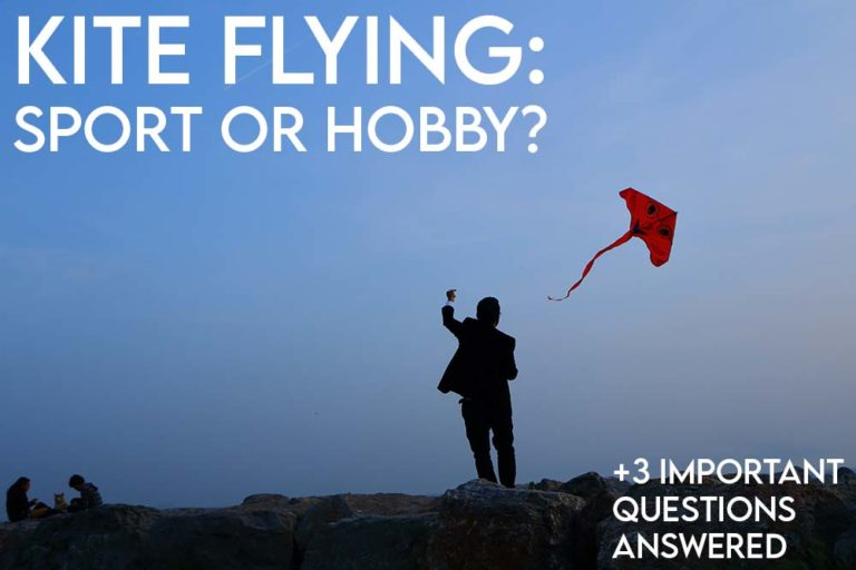 this image features the relevant article title regarding whether kite flying is a sport or a hobby and an evocative image of a person flying a kite