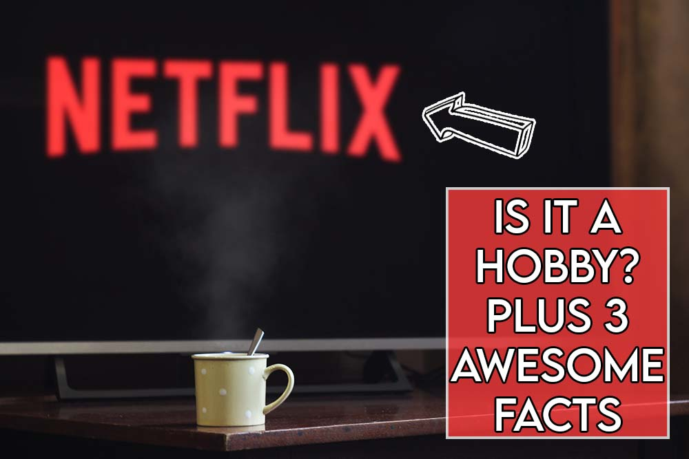This image features the article title asking whether netflix is a hobby or not and features an evocative image of netflix on a television