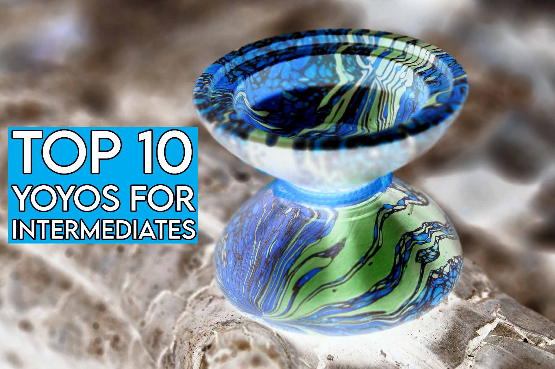 This image features the relevant article title about the best intermediate yoyos and shows an evocative image of a yoyo