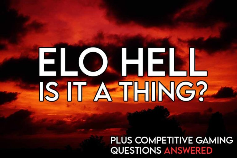 this image features the relevant article title discussing elo hell and an evocative image of a hell-like landscape
