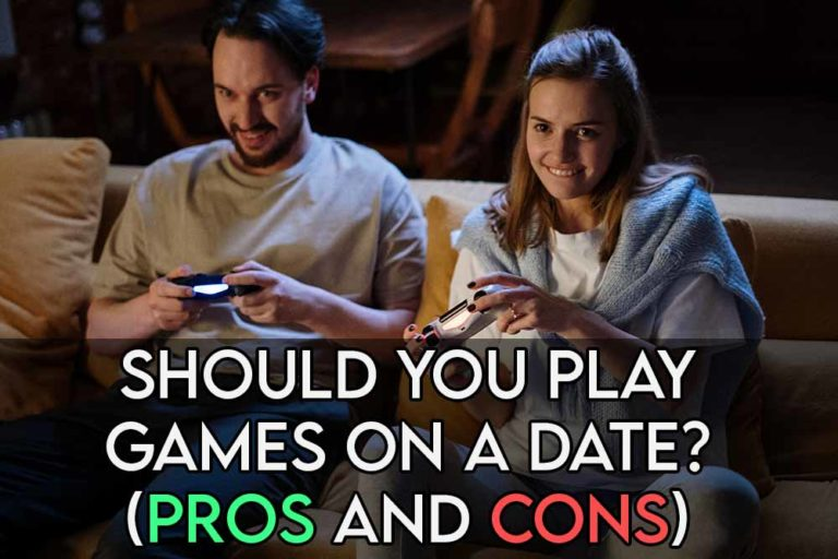 This image features the relevant article title asking whether you should play video games on a date or first date and an evocative image of two people playing games together