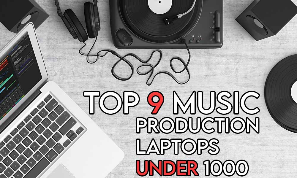 This image features the relevant article title about the best music production laptops and also features an evocative image of music equipment and a laptop