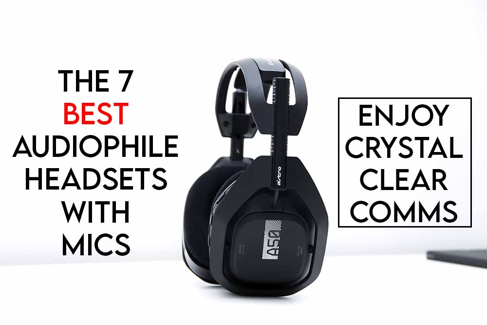 This image features the relevant article title discussing the best audiophile headphones with a mic and also includes an evocative image of a headset with a microphone attached
