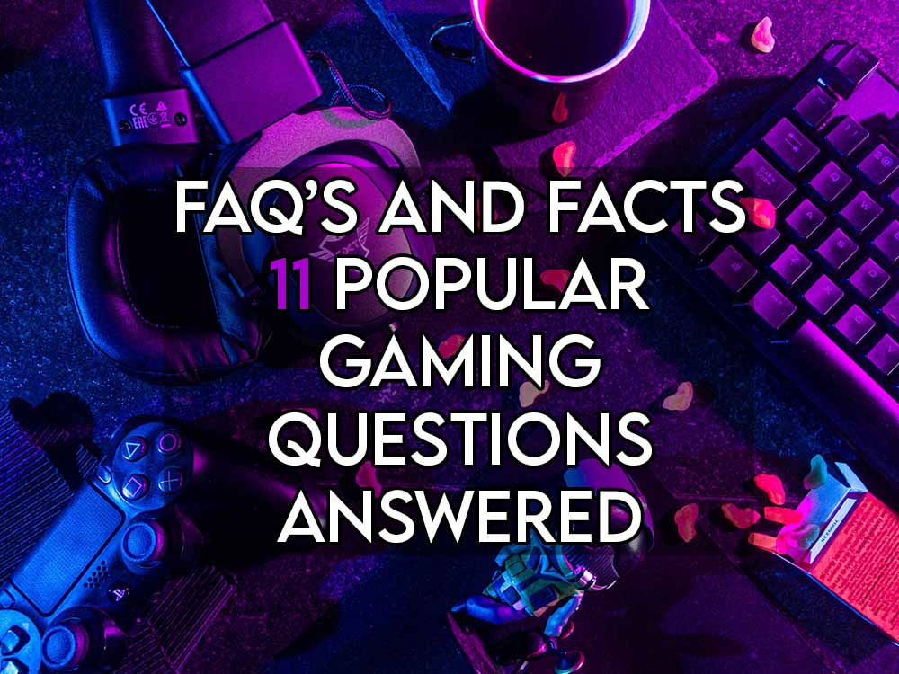 this image features the relevant article title about answering popular gaming questions and also features an evocative image of gaming equipment