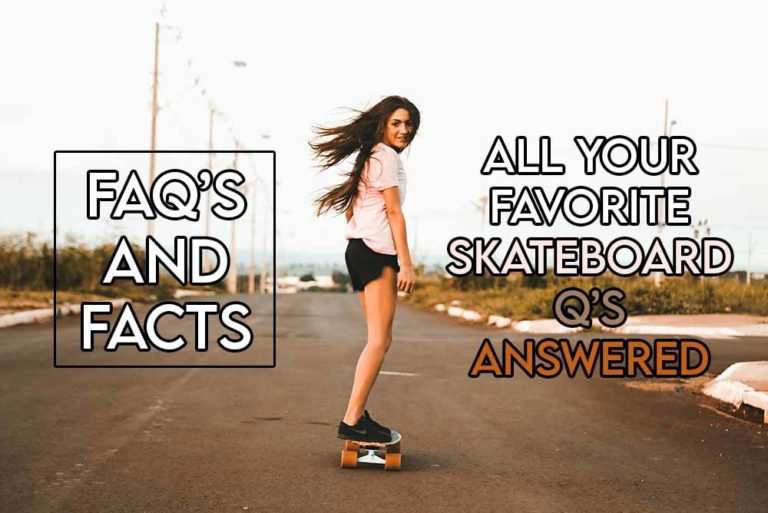 this image features the relevant article title about some of the most popular skateboarding questions being answered and features an evocative image of a girl skateboarding