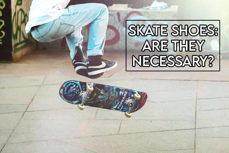 This image features the relevant article title asking whether skate shoes are necessary and also features an evocative image of someone wearing skate shoes