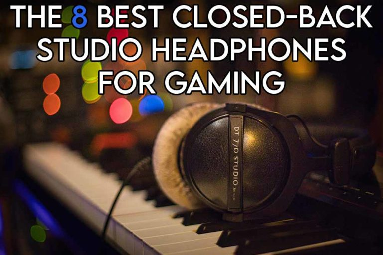 This image features the relevant article title about the best closed back studio headphones for gaming and also features an evocative image of the DT 770 pro from beyerdynamic which is one of the suggestion on our list