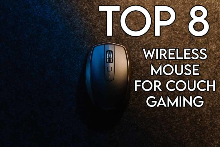 this image features the relevant article title about the best mouse for couch gaming and also has an evocative image of a mouse