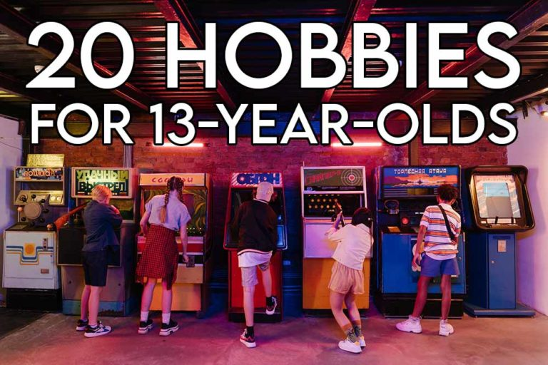 This image features the relevant article title regarding hobbies for 13 year olds and an evocative image of teens playing games