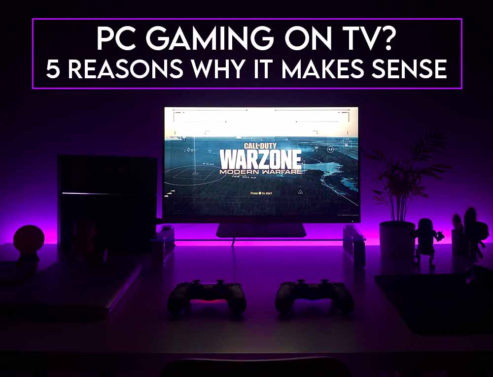 This image features the relevant title about PC gaming on TV and also include an evocative image of a TV-based PC gaming setup