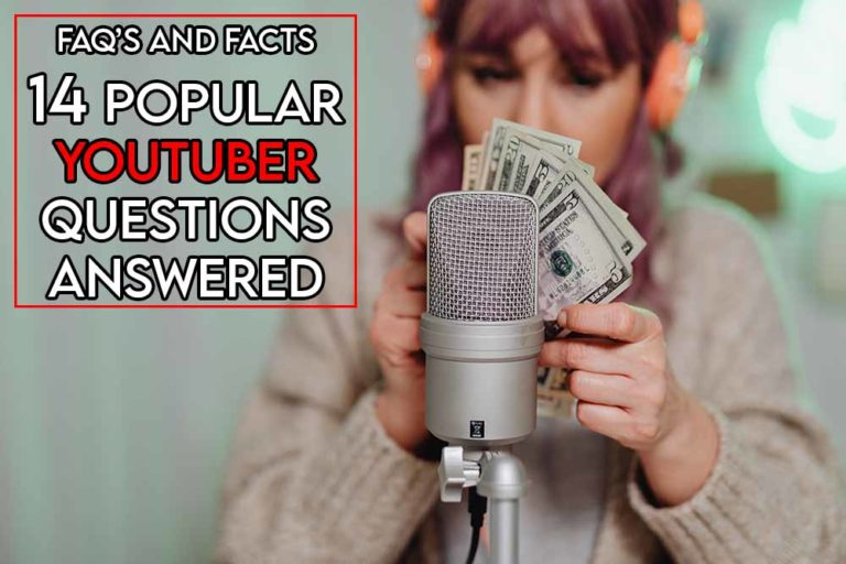 this image features the relevant article title about answering popular youtuber questions and it also features an evocative image of a person recording a video for youtube