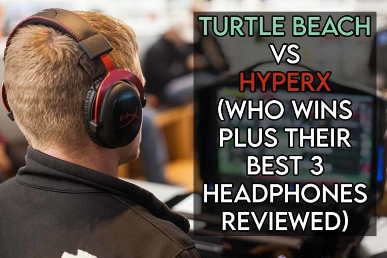 this image features the relevant title discussing who wins between turtle beach and hyperx and also features an evocative image of a hyperx headset