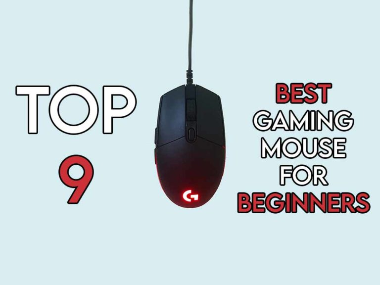This image features the relevant article title about the best gaming mouse for beginners and also shows an evocative image of a gaming mouse