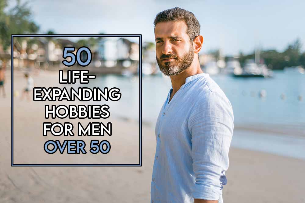 This image features the relevant title about hobbies for men over 50 and also features an evocative image of an older man hiking which is a fun hobby