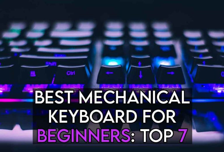 this image features the relevant article title about the best mechanical keyboard for beginners, and also features an evocative image of a mechanical keyboard