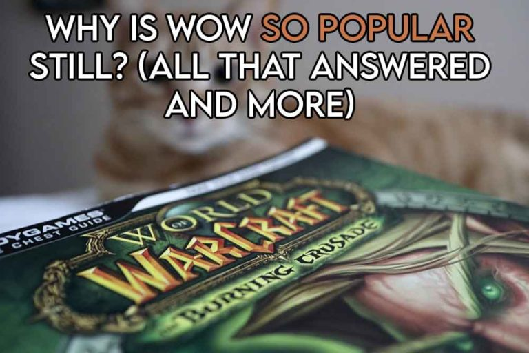 This image features the relevant title asking why world of warcraft is still so popular and also includes an evocative image of the wow game box