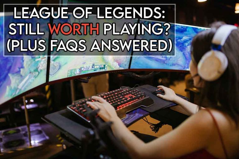 this image features the relevant article title asking if league is still good and also features an evocative image of a girl playing league of legends on a gaming pc