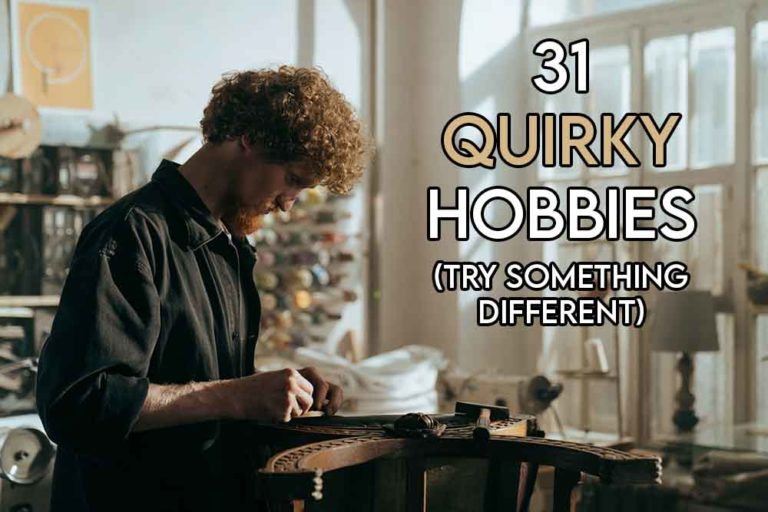 this image features the relevant article title about quirky hobbies and includes an evocative image of someone engaging in a quirky activity