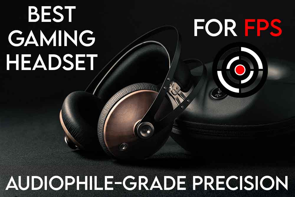 this image features the relevant article title about the best gaming headsets for FPS and also an evocative image of a gaming headset