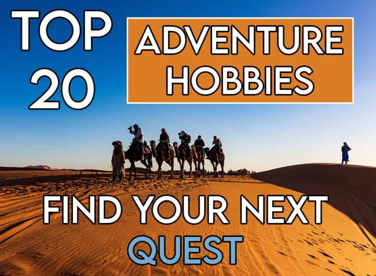 This image features the relevant article title about adventure hobbies and also includes and evocative image of people exploring sand dunes