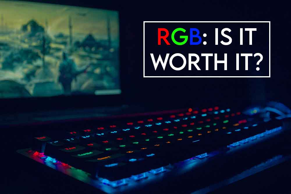 THIS IMAGE FEATURES THE RELEVANT ARTICLE TITLE DISCUSSING WHETHER RGB IS WORTH IT AND ALSO INCLUDES AN EVOCATIVE IMAGE OF AN RGB KEYBOARD