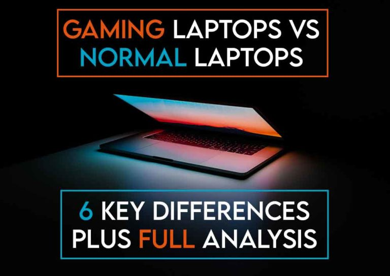 this image features the relevant article title discussing the differences between gaming laptops and normal laptops and also features an evocative image of a laptop