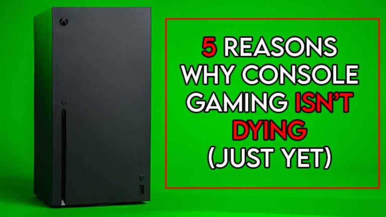 this image feature the relevant article title about why console gaming isnt dying and also features an evocative image of a console machine
