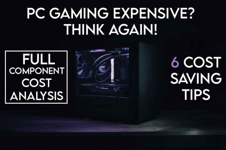 this image features the relevant article title discussing the costs and expense associated with PC gaming and also includes an evocative image of a gaming PC.