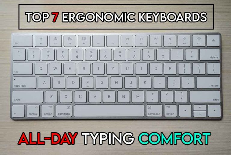 THIS IMAGE FEATURES THE RELEVANT ARTICLE TITLE DISCUSSING THE BEST KEYBOARDS FOR TYPING ALL DAY AND ALSO FEATURES AN EVOCATIVE IMAGE OF AN ERGONOMIC KEYBOARD