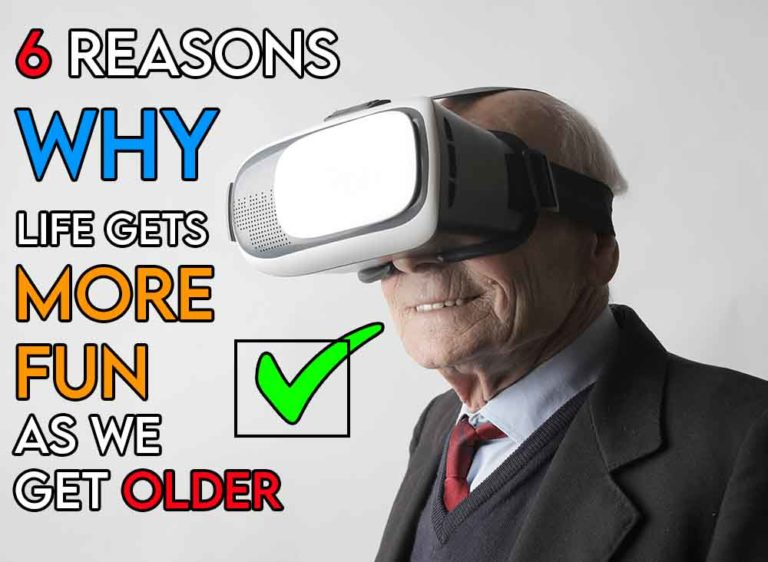 This image features the relevant article title discussing why we think life isn't boring as you get older and also features an older man having fun with a VR headset