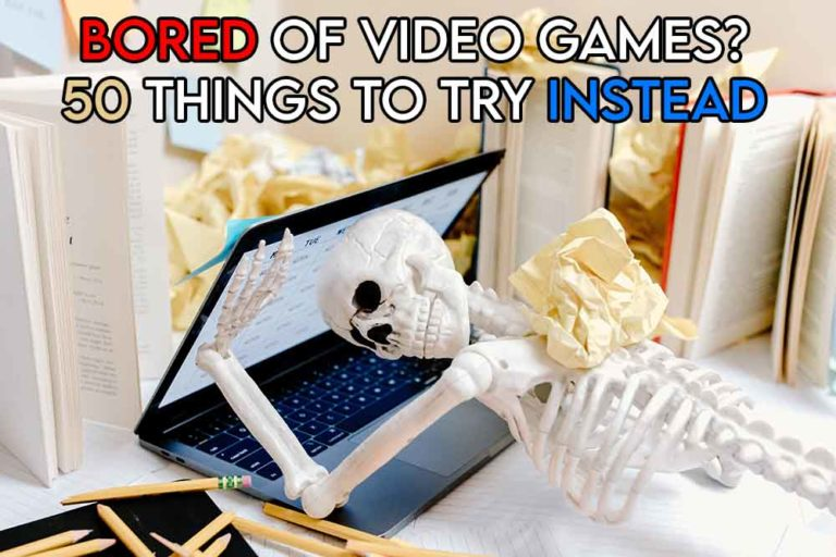 This image features the relevant article title discussing what to play when you're bored of video games and also includes an evocative image of a person looking bored on a computer